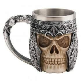 Caneca Viking Skull Caveira Inox Chopp Cerveja Festa - YAAY