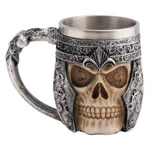 Caneca Viking Skull Caveira Inox Chopp Cerveja Fes..