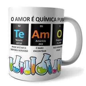 Caneca Série Química TE AMO em Porcelana Esmaltada..