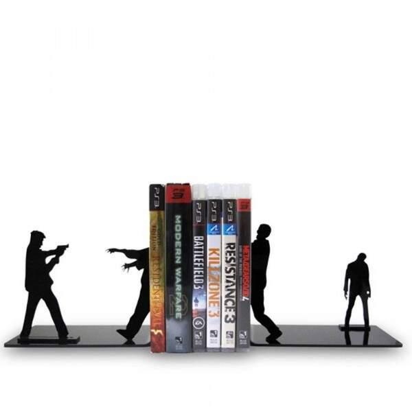 Suporte aparador de Livro DVD CD Zumbilândia Preto em Plastico resiste..