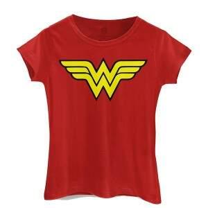 Camiseta Baby Look logo MULHER MARAVILHA cor Verme..
