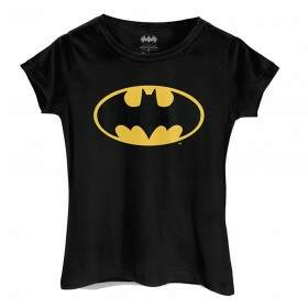 Camiseta feminina Baby Look LOGO BATMAN Logo Clássico Dc Comics preta - BANDUP