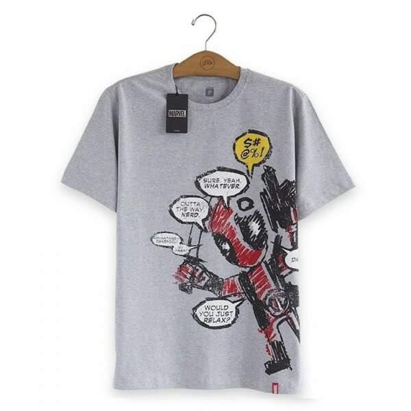 Camiseta DEADPOOL Blah, Blah, Blah - Produto Oficial Marvel Cor Cinza ..