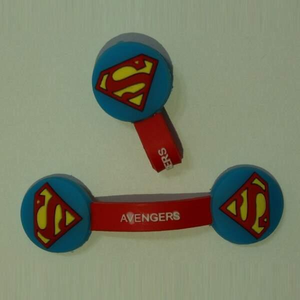 Prendedor de cabos SUPERMAN e Organizador de Cabos Usb, Fones De Ouvid..